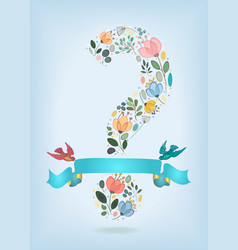 valentine card with floral question mark and birds vector image