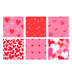 valentines day pink heart seamless pattern set vector image