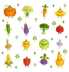 Vegetables characters with funny emotions vector