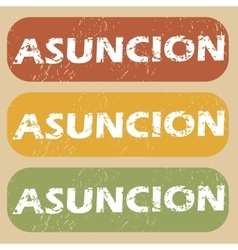 Vintage Asuncion stamp set vector