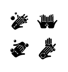 Washing hands instruction black glyph icons set vector