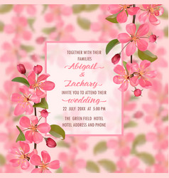 Wedding invitation with cherry blossom vector