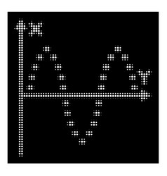 white halftone dotted sinusoid plot icon vector image