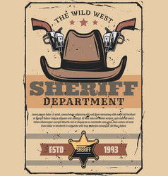 Wild west sheriff gun and western cowboy hat vector