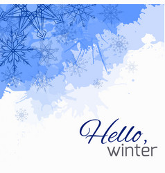 winter cover with doodle snowflakes and blue vector image