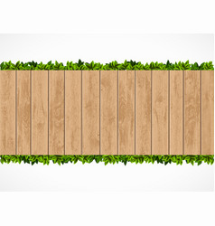 wooden fence with green leaves behind vector image