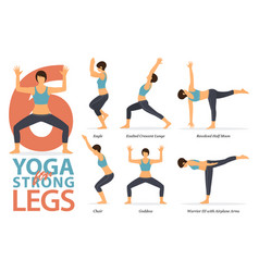 yoga poses for strong legs vector image