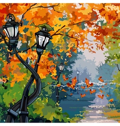 cartoon street lights in the autumn park vector image