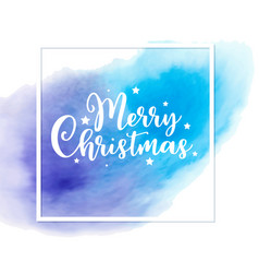 christmas card with blue watercolor texture vector image
