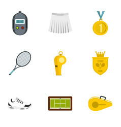 equipment for tennis sport icons set flat style vector image vector image