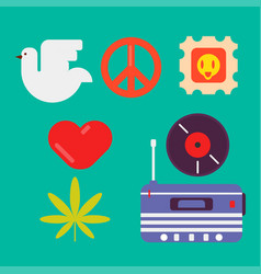 hippie symbols of peace colorful set isolated vector image vector image