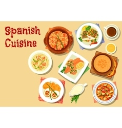 Spanish cuisine seafood dishes icon vector image vector image