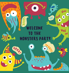 welcome to the monster party card invitation vector image