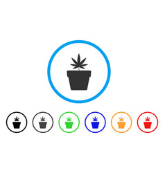 cannabis pot rounded icon vector image vector image