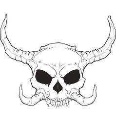 horned skull 001 2 vector image