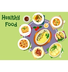 Nutritious dinner with meat and fish dishes icon vector image
