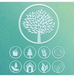 round labels with tree and nature icons vector image vector image