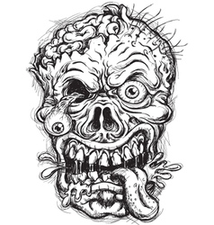 Sketchy Zombie Head vector image vector image