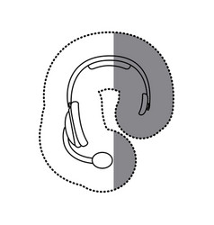 sticker silhouette headphones communication icon vector image vector image
