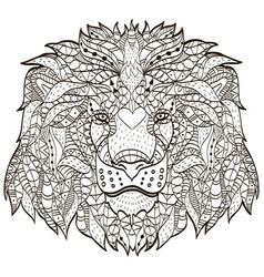 zentangle stylized cartoon head of a lion vector image