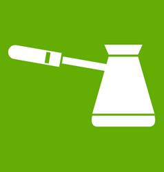 coffee cezve icon green vector image