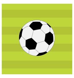 Football soccer ball on green grass field back vector image