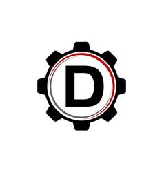 gear solution logo letter d vector image vector image
