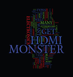 monster hdmi text background word cloud concept vector image