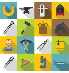 Blacksmith icons set flat style vector