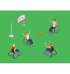 Isometric Active healthy disabled men basketball vector image