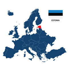 map of europe with highlighted estonia vector image vector image