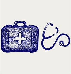 Stethoscope with first aid kit vector image