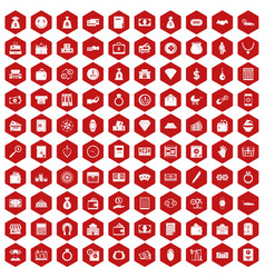 100 deposit icons hexagon red vector