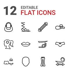 12 women icons vector