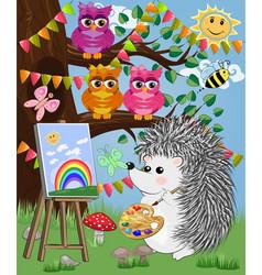 A hedgehog artist in love draws on an easel vector