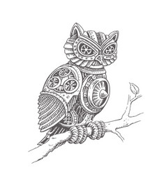 A mechanical owl on a tree branch in a steampunk vector