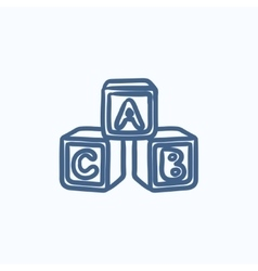 Alphabet cubes sketch icon vector image