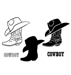 American cowboy boots and hat set graphic vector