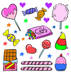 Art candy colorful doodle style vector
