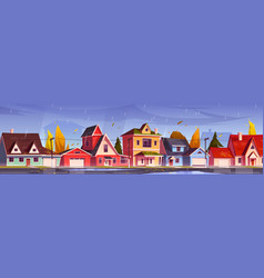 Autumn street in suburb district with houses vector