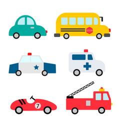 Baby city cars set funny transport cartoon vector