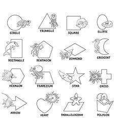 Black and white geometric shapes with sea animals vector