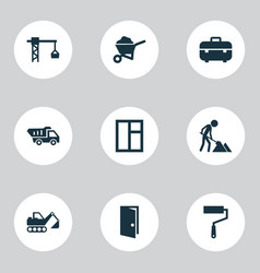 Building icons set collection truck carry vector