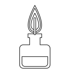 Bunsen burner experiment scientific glass line vector