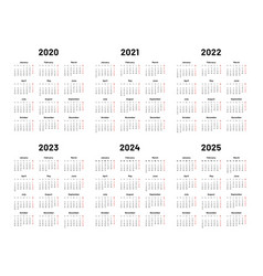 calendar grid 2020 2021 and 2022 yearly calendars vector image