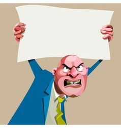 cartoon angry man in a suit holding up a blank vector image