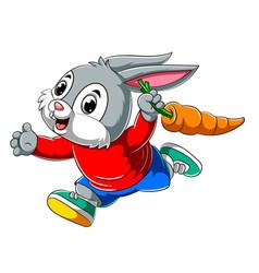 Cartoon happy rabbit running and holding big vector