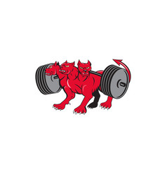Cerberus multi-headed dog hellhound powerlifting vector
