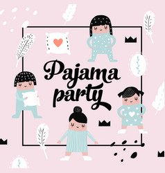 Childish design with cute girls in pajamas vector