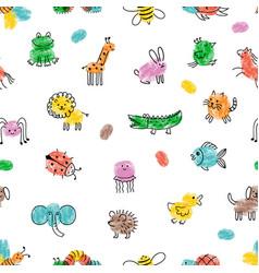 children paint pattern fingerprint animals cute vector image